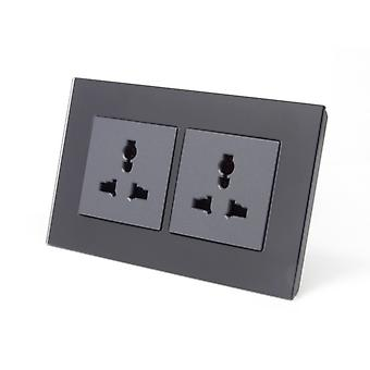 I LumoS AS Luxury Black Crystal Glass Unswitched 3 Pin Multi Plug Double Socket