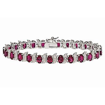 Affici Sterling Silver Tennis Bracelet 18ct White Gold Plated with Ruby & Diamond CZ Gems
