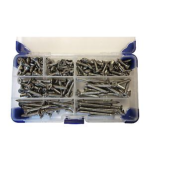 185 Piece No (4.8mm) 10 Zinc Plated Pozi Countersunk Self Tapping Screws Assorted Lengths