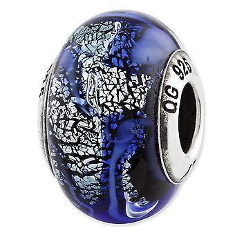 Sterling Silver Reflections Blue Italian Glass Bead Charm