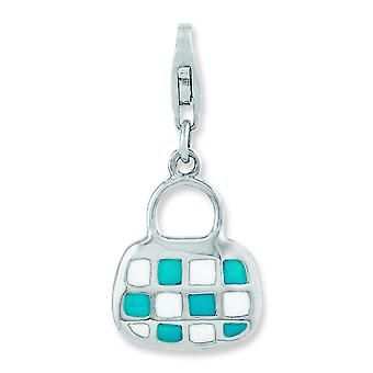 Sterling Silver Rhodium-plated 3-d Enameled Purse With Lobster Clasp Charm - 2.2 Grams