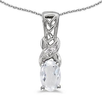 10k White Gold Oval White Topaz And Diamond Pendant with 18
