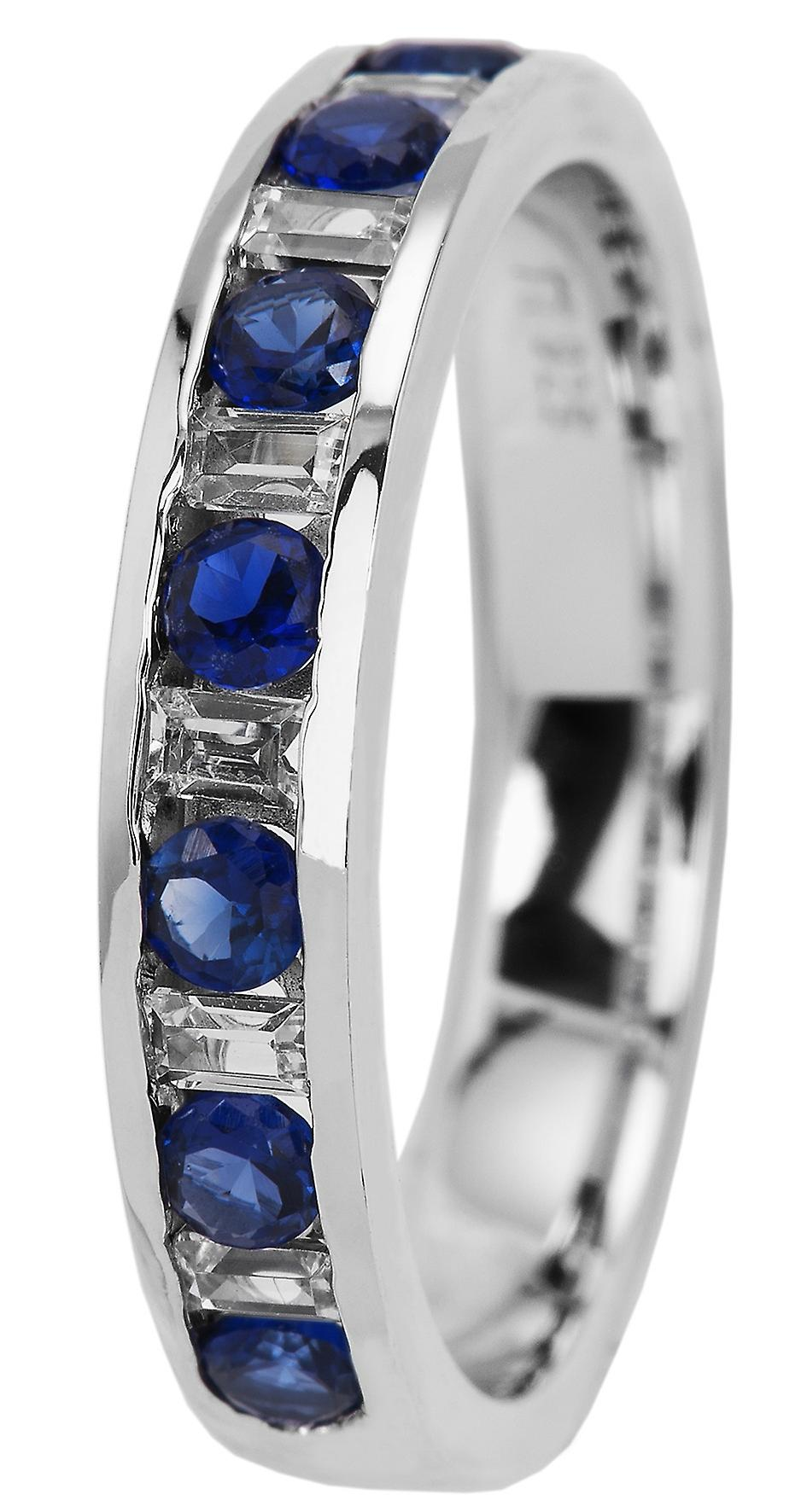 Burgmeister women's ring JBM2015-111, 925 sterling silver rhodanized, blue + white zirconia