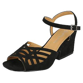 Ladies Anne Michelle Mid Heel Cut Out Vamp Sandals F10731