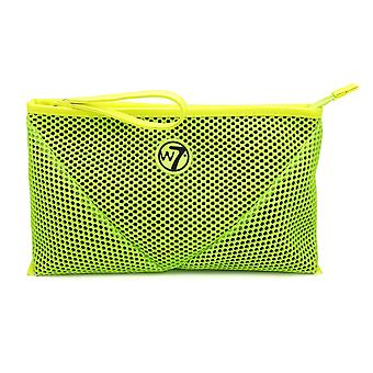 W7 Neon Green Mesh Large Cosmetic Toiletry Make Up Bag
