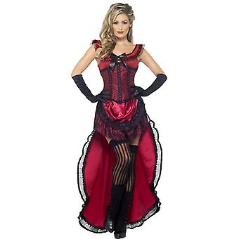 Authentic western collection brothel sweetie costume Burgundy dress with corset