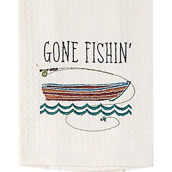 Gone Fishing Lake House Embriodered Waffle Weave Kitchen Towel