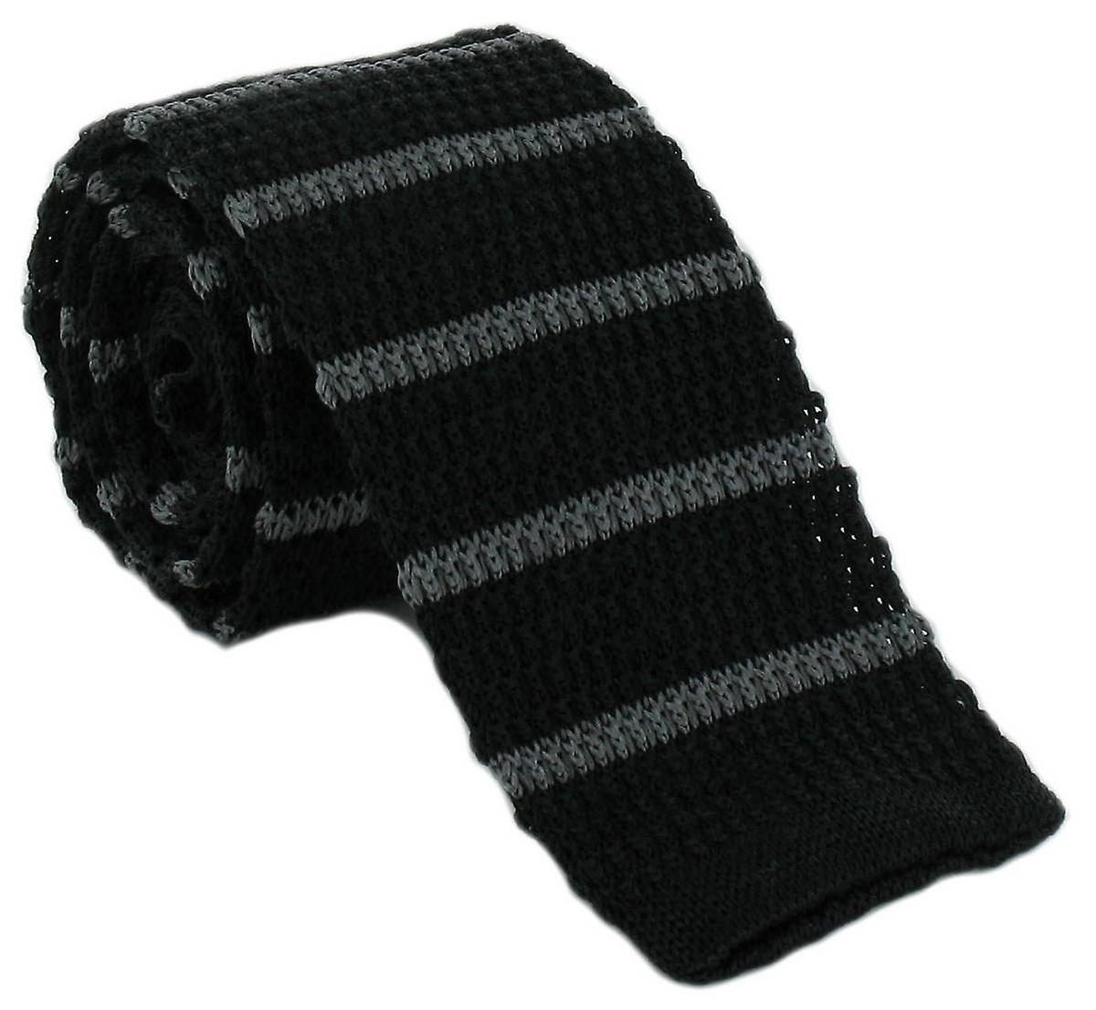 Michelsons of London Silk Knitted Striped Skinny Tie - Black/Charcoal