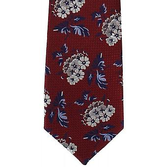 Michelsons of London Textured Bold Floral Silk Tie - Red