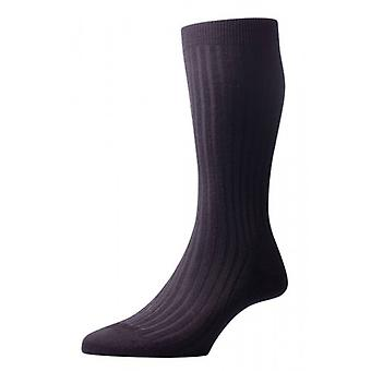 Pantherella Laburnum Rib Merino Wool Socks - Black