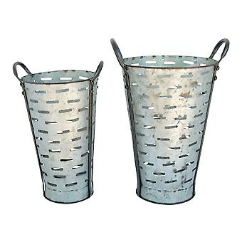 Set of 2 Galvanized Finish Slotted Metal Flower Cans