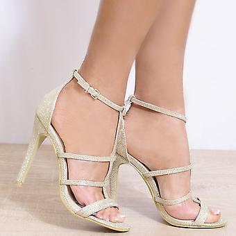Koi Couture Gold Stilettos - Ladies Gold Ed18 Stilettos Peep Toes Ankle Strap Strappy Sandals High Heels