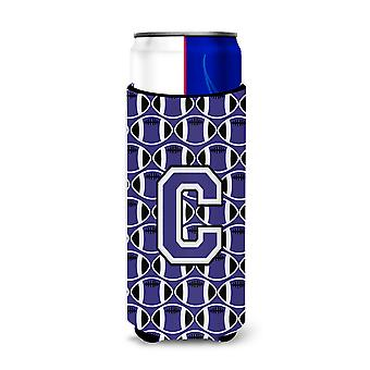 Letter C Football Purple and White Ultra Beverage Insulators for slim cans