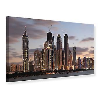 Canvas Print Skyline Dubai bij zonsondergang