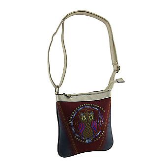 Faux Leather Embroidered Dreamcatcher Owl Crossbody Handbag Adjustable Strap