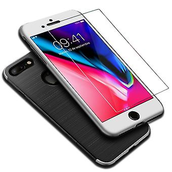 Apple iPhone 7 Plus 2 in 1 Handyhülle 360 Grad Full Cover Case Silber