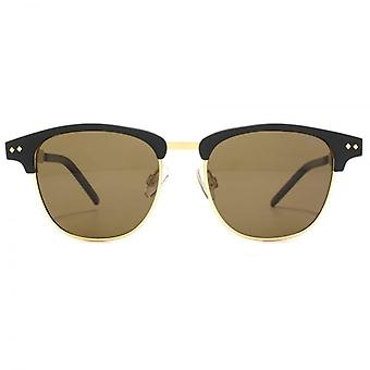 Polaroid Timeless Browline Sunglasses In Matte Black Gold Polarised