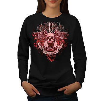 13 The Lucky One Skull Women BlackSweatshirt | Wellcoda