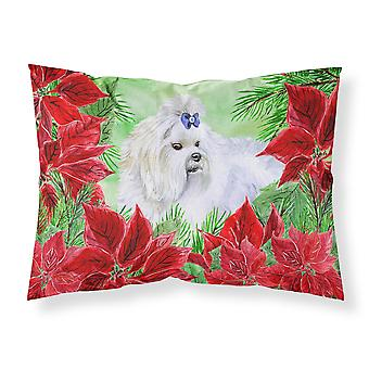 Maltese Poinsettas Fabric Standard Pillowcase
