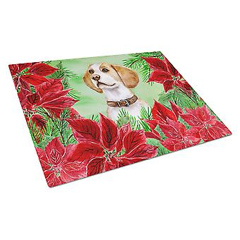 Carolines Treasures  CK1334LCB Beagle Poinsettas Glass Cutting Board Large