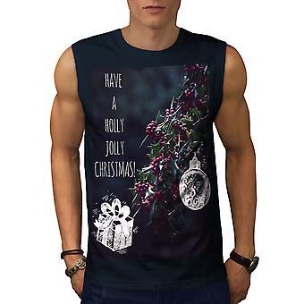 Holly Jolly Men NavySleeveless T-shirt | Wellcoda