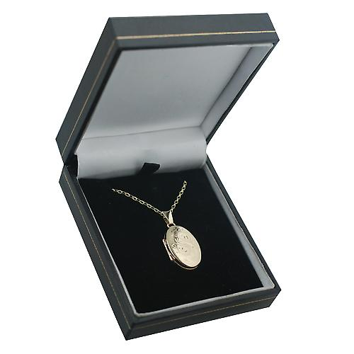 9ct Gold 22x15mm oval hand engraved Miraculous Medal Locket with a belcher Chain 16 inches Only Suitable for Children