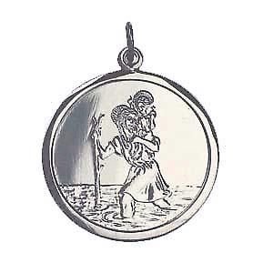 9ct White Gold 25mm round St Christopher Pendant