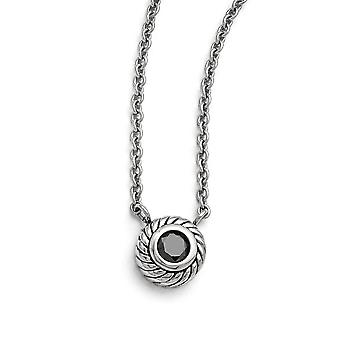 Black Synthetic Cubic Zirconia Necklace in Stainless Steel - Lobster Claw Cable