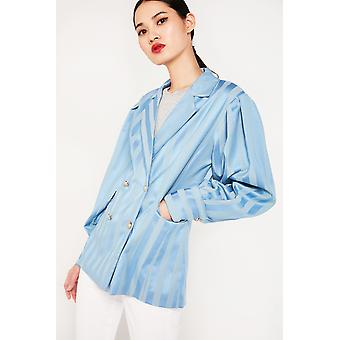 Ghospell Double Breasted Striped Blazer