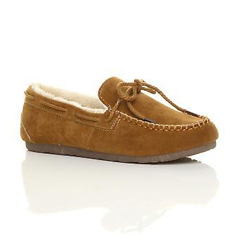 Ajvani dame faux fåreskind fur fleksible eneste båd sko mokkasiner hjemmesko