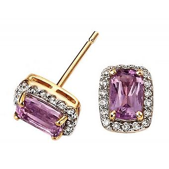 Elements Gold Amethyst Cushion Earrings - Purple/Gold