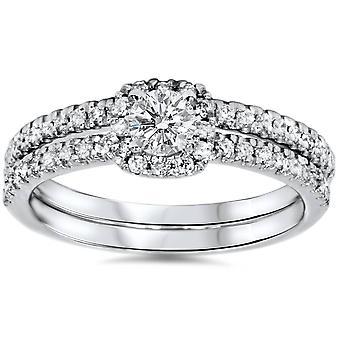 3/4ct Diamond Cushion Halo Engagement Wedding Ring Set White Gold