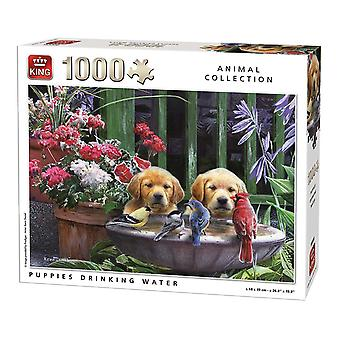 King Puppies Drinking Water Jigsaw Puzzle (1000 Pieces)