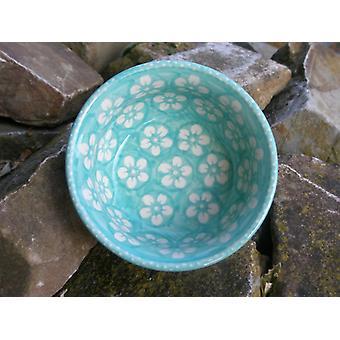 Waves edge Bowl, 2nd choice, Ø 11 cm, height 6 cm, Bolesławiec mint - BSN m-4494