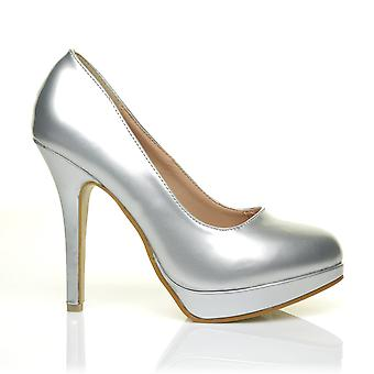 EVE Silver PU Leather Stiletto High Heel Platform Court Shoes