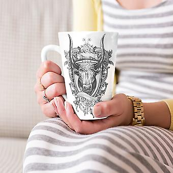 Bull Beast Shield Animal NEW White Tea Coffee Ceramic Latte Mug 17 oz | Wellcoda