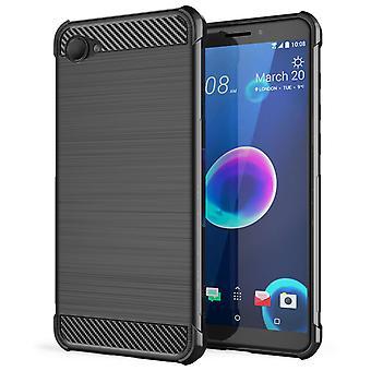 HTC Desire 12 Carbon Anti val TPU Case - zwart