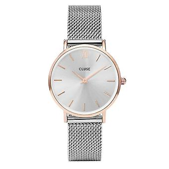 Cluse Cl30025 Minuit Rose Gold & Silver Mesh Ladies Watch