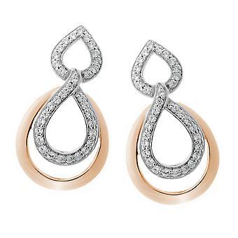 Orphelia Silver 925 Earring Gold/White Double Drop   ZO-7092/1