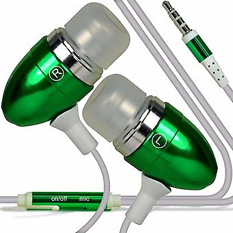 For Motorola Moto E5 Play - Aluminium Earphone In-Ear Stereo Headset with Built-in Microphone Mic & On-Off Button (Green) by i-Tronixs