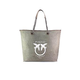 PINKO GREEN CANVAS BARRITO LARGE TOTE BAG