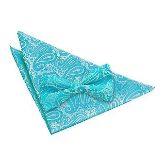 Turquoise Paisley Bow Tie & Pocket Square Set