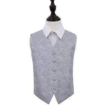 Silver Paisley Wedding Waistcoat for Boys