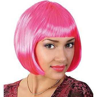 Lola neon pink Bob wig short hair pony