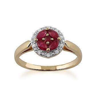Gemondo 9ct jaune or Cluster rubis et diamant bague de Halo