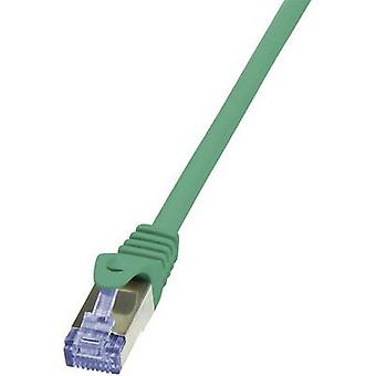 LogiLink RJ45 Networks Cable CAT 6A S/FTP 2 m Green Flame-retardant, incl. detent
