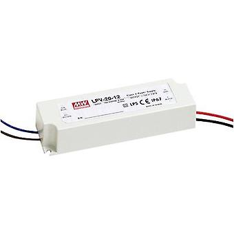 Mean Well LPV-20-12 LED transformer Constant voltage 20 W 0 - 1.67 A 12 Vdc not dimmable, Surge protection