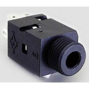3.5 mm audio jack Socket, vertical vertical Number of pins: 3 Stereo Black BKL Electronic 1109055 1 pc(s)