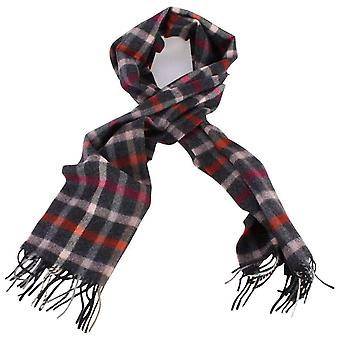 Bassin and Brown Parker Check Wool Scarf - Charcoal/Pink/Red