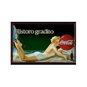 Coca Cola Ristoro Gradito Embossed Steel Sign